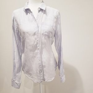 Theory Button Up Plaid Blouse